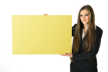 Business Woman Blank Yellow Board