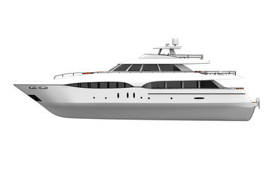 White Pleasure Yacht Isolated on White Background