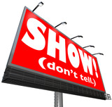 Show Don't Tell Words Billboard Writing Advice Storytelling Tip