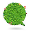 Vector Speech bubble green grass texture background
