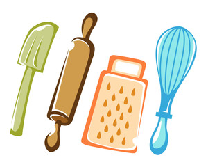 Baking utensils in color