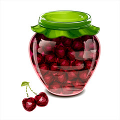 Jar of cherry jam