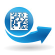 flash code sur bouton web bleu