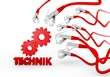 technik (english technical) symbol attacked by a cyber network