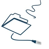 3d graphic of a isolated dislike symbol with cat5 network cable poster