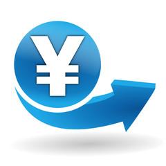 yen sur bouton web bleu