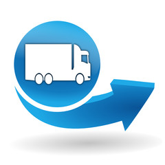 camion sur bouton web bleu