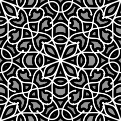 Abstract grey filigree ornament, seamless lace pattern