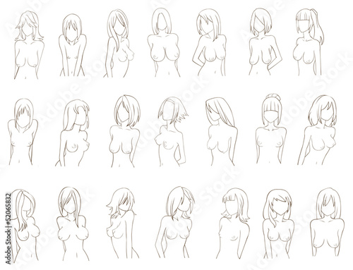 Various types of women breat (sketch)