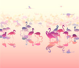 landscape with silhouettes of flamingo in pink  tones