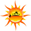 Sun vector background with palms and sea