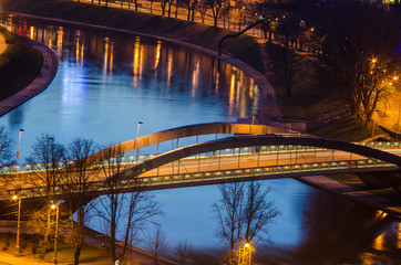 Lithuania. Vilnius in the evening. Mindaugas Bridge