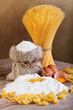 Pasta with ingredients - flour and eggs