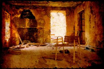 Retroplakat - Ruinenraum