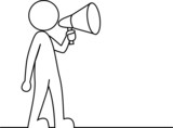 Simple person with megaphone