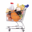 isolated shopping cart with dairy products