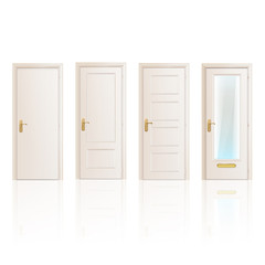 Set of white doors on isolated background.