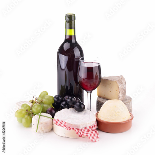 isolated composition with wine and cheese