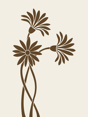 Flowers silhouettes. Vector illustration.