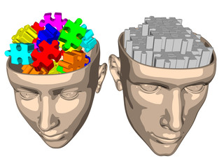 Puzzle brain of woman and man - cartoon