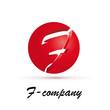 Vector Logo spherical letter F 3d