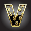 Vector black letter with dollars