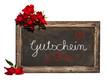 Kreidetafel, rote Rosen und Text, Gutschein