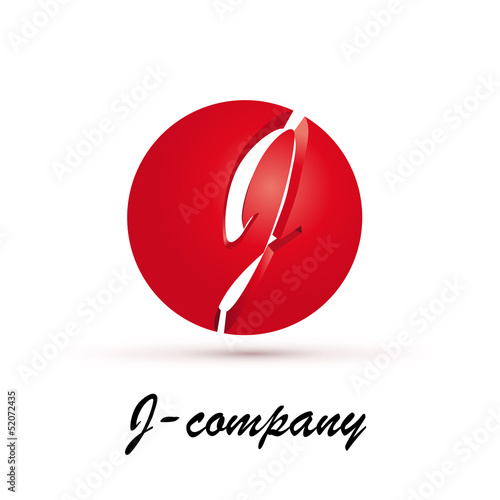 Vector Logo spherical letter J 3d