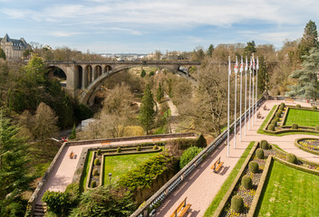 View of Constitution square and Adolphe Bridge in Luxembourg