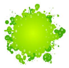 Grüner Klecks mit Wasser