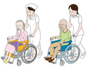介護士と看護士と老人