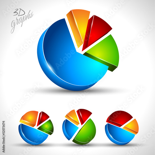 3d pie diagram for infographic or percentage data display.