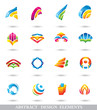 ABSTRACT COLORFUL DESIGN ELEMENTS or ICONS.
