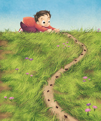 niño y hormigas
