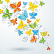 Abstract background with butterflies.