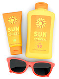 Bottle and tube of sunscreen and red sunglasses