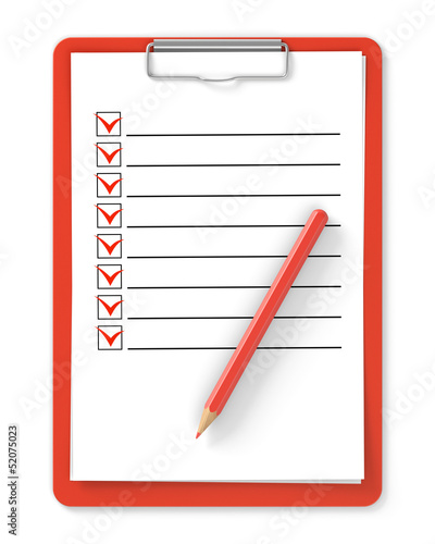 Checklist. Red clipboard and pencil on white