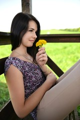 Sexy Girl With Dandelion
