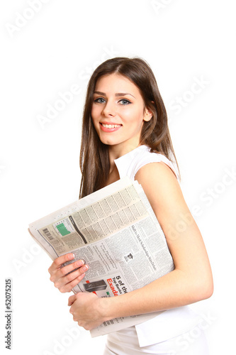 Young woman posing with a newspaper on a white background