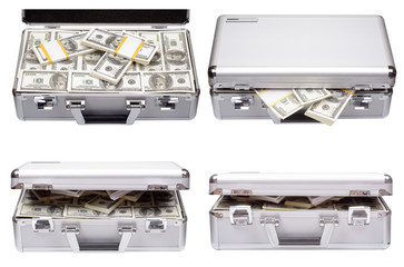 The metal case with dollars and euros