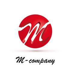 Vector Logo spherical letter M 3d