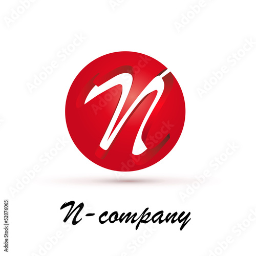 Vector Logo spherical letter N 3d