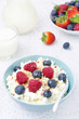 bowl of cottage cheese with berries, honey and nuts vertical