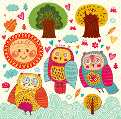 Cartoon vector illustration with owls and trees