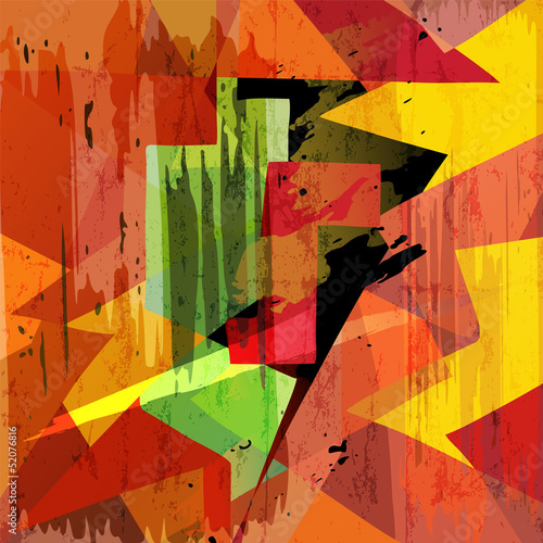 abstract geometric background, with mosaic, strokes and splashes