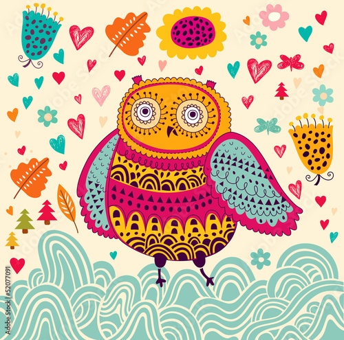 Cartoon vector illustration with owl