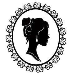 retro silhouette profile of a young girl