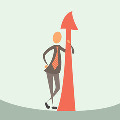 businessman and arrow of success.
