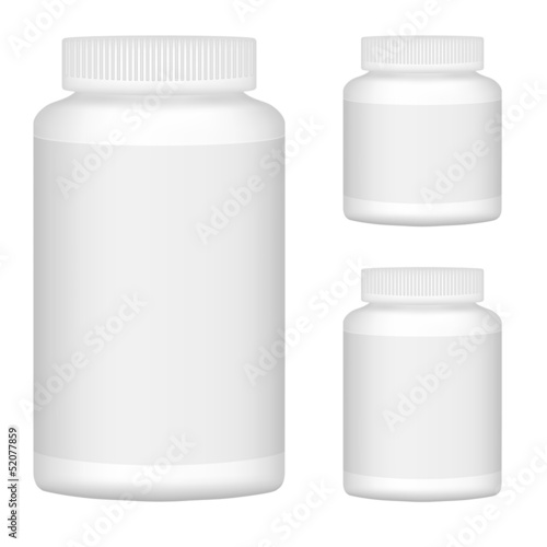 White Blank Plastic Bottle Set For Packaging Design. Set 1. Vect