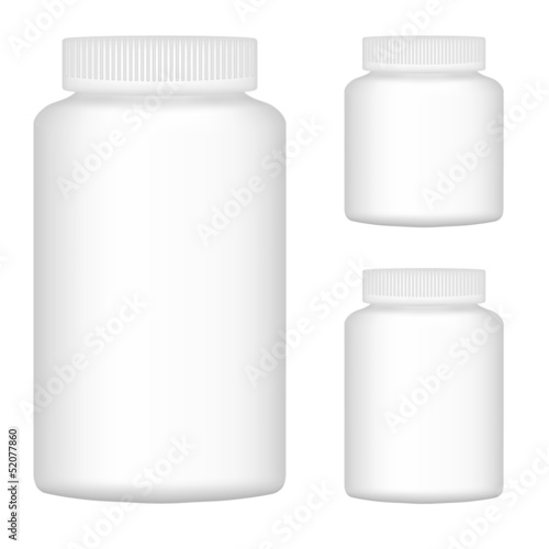 White Blank Plastic Bottle Set For Packaging Design. Set 2. Vect